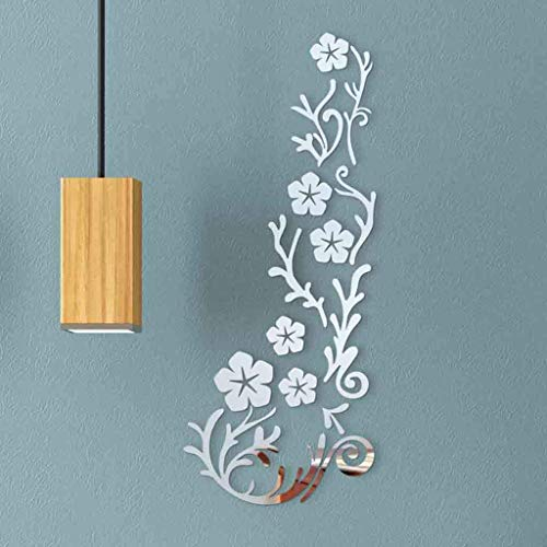 N-brand PULABO 3D Spiegel Blume Kunst Wandaufkleber Acryl Wandtattoo Removable Room Decor Für Wohnzimmer Schlafzimmer Küche Restaurant Guter Service robust