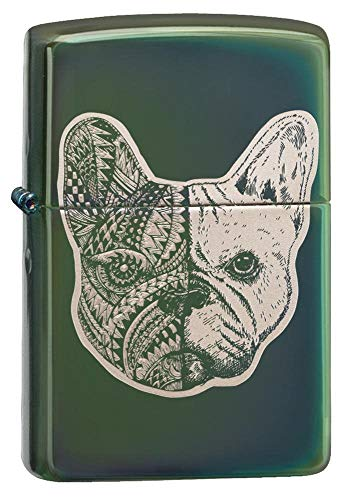 Zippo French Bulldog High Polish Green Design, one Size