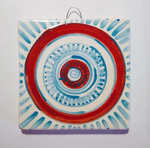 Geometrische Fliese - Handverzierte Keramikfliese, Größe cm 10,1x10,1x1 cm Made in Italy in der Toskana, Lucca Erstellt von Davide Pacini.