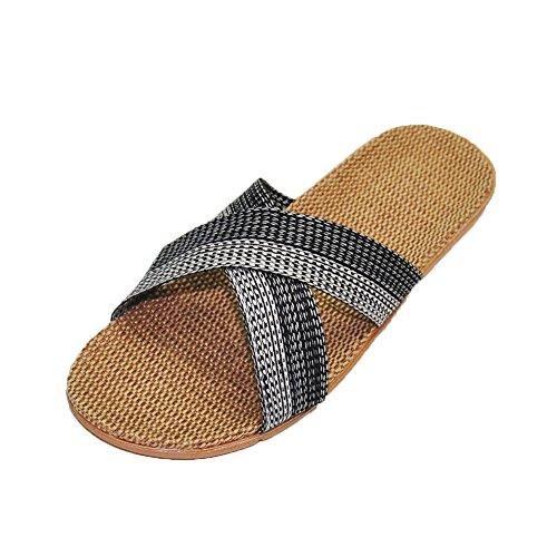 HRFEER Men Slippers Silent Floor House Slipper Lightweight Linen Summer Beach Shoes for Men's Sandals (E,11)