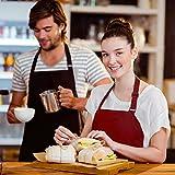 PAMIYO Schürze Kochschürze 2 Pack Küchenschürze verstellbare Schürzen mit 2 Taschen für Küche Garten BBQ Chef Kellner Bäcker (Schwarz + Rot) - 5