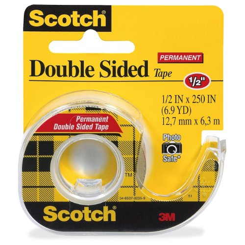Scotch 136 Double-Sided Tape,w/Dispenser,Permanent,1/2-Inch x250-Inch,CL