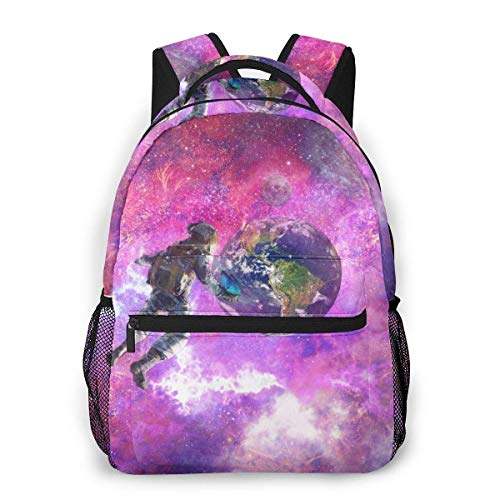 DJNGN College Backpack Angel Meditation Moon Planet Sunset Night Wings Men and Women Casual Style Canvas Backpack School Bag,