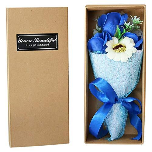 Haonan Flor artificial, hecha a mano, ramo de flores de jabón artificial, para decoración de interiores y exteriores, día de San Valentín, aniversario del día de la madre
