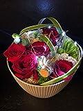 Regalo con Rosas, arreglo de Flores Frescas y Naturales Mujer, día de la Madre, Regalo Personalizado,, Incluye Luces y Tarjeta Personalizada