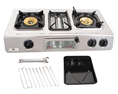 NJ G-87 Gas Stove 3 Burner Grill Oven LPG Camping Cooktop Stainless Steel 70cm Outdoor