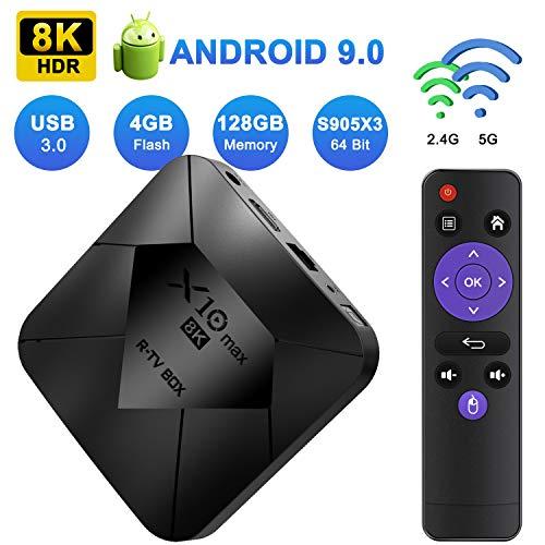 XGODY Android TV Box,4GB+128GB X10 MAX Android 9.0 Smart Media Box mit S905X3 Quad-Core Cortex-A55,8K HDR/ HDMI 2.1/ H.265/ USB3.0,Bluetooth WiFi 2.4G/5G Streaming Box