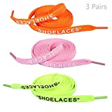 Daimay 3 Pairs Shoelaces Text Printed Flat Shoelaces Replacement Shoe Laces for Sneakers Shoe Laces Swap – 1.2M - Orange Pink Fluorescent Green
