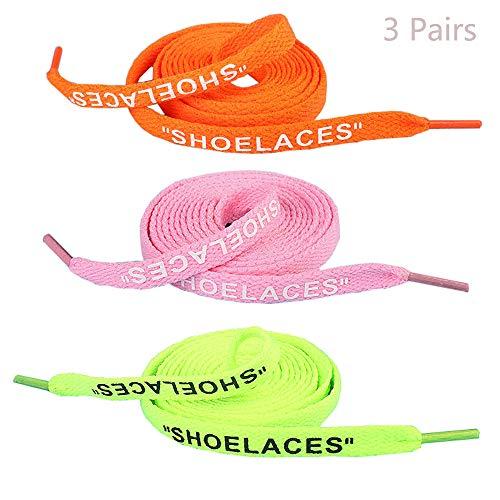 """Jurxy 3 coppie """"Shoelaces"""" Testo stampato Sostituzione piatta delle scarpe Lacci per scarpe da ginnastica Swap Lacci per scarpe - 1.2M - Verde fluorescente rosa arancio"""