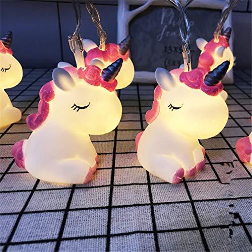 LEDs Lichterkette Cartoon Tiere Batteriebetrieben Deko für Garten, Bäume, Terrasse, Weihnachten, Hochzeiten, Partys, Innen und außen 150cm (Buntes Einhorn)