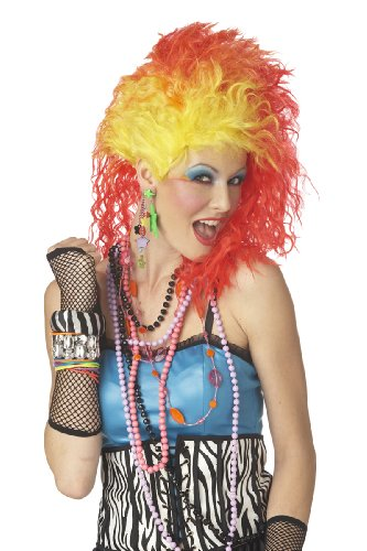 80s Cyndi True Colours funky wig - orange and yellow punky wig (peluca)