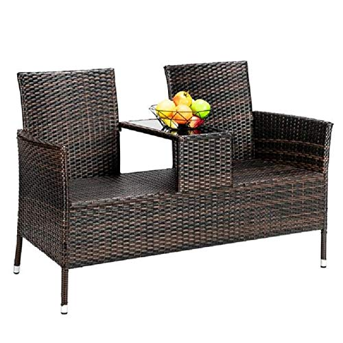 ANDRES Wicker Patio Furniture with Tempered Glass, Modern Patio Sectional Rattan Chair Set, Patio Furniture Without Cushions, Double Backrest Rattan Sofa, Home and Garden, Back Chair Combination