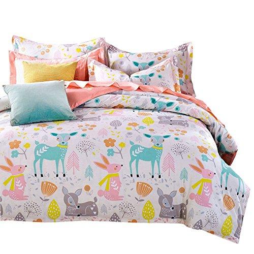 15157e7f6d48 Svetanya Cartoon Deer Printed 3Pcs Duvet Cover Set 400TC 100% Soft Cotton  Fabric Bedlinens 3Pcs