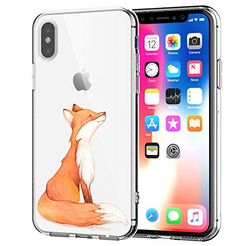 Caler Kompatibel mit/Ersatz für Hülle XS/iPhone X Hülle Flexible Silikon HandyTransparente Ultra Slim TPU dünne stoßfeste mit Motiv Tasche Etui Schutzhülle Hülle Cover(Fuchs)
