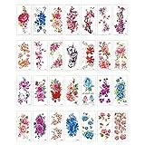YZX Tatuaggi temporanei, 28 Fogli sicuri Impermeabili Stampa a Colori Fiori Arte Sexy Adesivi per trasferimento del Tatuaggio del Braccio, per Il Trucco del Corpo di Donne e Ragazze