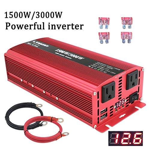 Yinleader Power Inverter 1500W/3000W(Peak) DC 12V / 24V to 110V AC Dual AC Outlets and Dual 3.1A USB Ports for RV Caravan Truck Laptop Camping (12v)