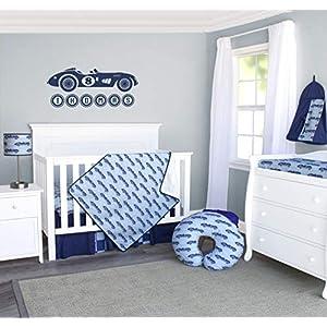 Pam Grace Creations 3 Piece Race Car Crib Bedding Set, Light Blue  Dark Blue