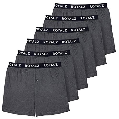 ROYALZ 6er Pack Boxershorts Weit American Style Comfort für Herren Jungen Unterhosen klassisch 100% Baumwolle Weich Locker 6 Set Männer Unterwäsche, Farbe:Dunkelgrau, Größe:M