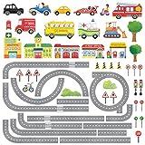 DECOWALL DW-1404S La Carretera y los Coches Vinilo Pegatinas Decorativas Adhesiva Pared Dormitorio Salón Guardería Habitación Infantiles Niños Bebés (Medio)