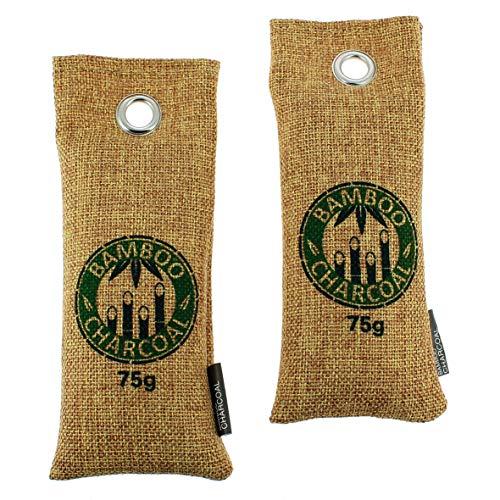 Twee zakken à 75 g. Bamboe-actieve koolreiniger en luchtontvochtiger – ideaal voor schoenen, kasten, auto's, wastafels, keukens, enz. – natuurproduct helpt ook allergenen en