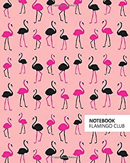 Notebook Flamingo Club: (Salmon Edition) Fun notebook 192 ruled/lined pages (8x10 inches / 20.3x25.4 cm / Large Jotter)