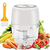 moleath Electric Mini Food Chopper, 400ML Wireless Portable Garlic Grinder, Multifunctional Food Slicer Processor for Cutting Garlic, Fruits, Vegetables, Nuts, Meat, Baby Food(White)