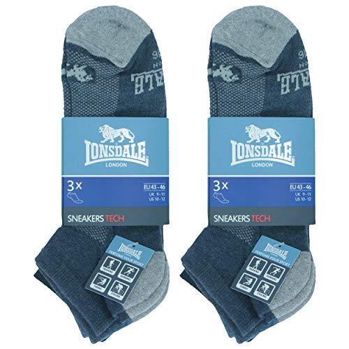 Lonsdale Sneaker Tech 6 pares de calcetines ideales para trekking, carreras, tenis, ciclismo, excelente calidad de algodón (Azul, Jeans, Denim, 43-46)