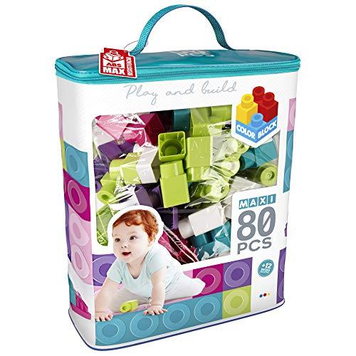 ColorBaby - Bloques construccion bebe, Juego de construcción 80 piezas, Ladrillos de colores trending, Construcciones maxi, Bloques de construccion gigantes, Bolsa piezas construccion (49284)