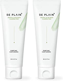 BE PLAIN Greenful pH-Balanced Cleansing Foam 80ml 2.7 fl oz. (2 Packs) -Green Mung Bean Extract Weak Acidity Gentle Pore Cleanser for Daily Hydrating Skin Anti Acne Oil Control Korean Face Wash