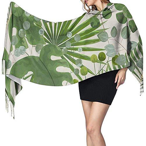 Cathycathy groen laat tropische sjaal blanket check wrap sjaal