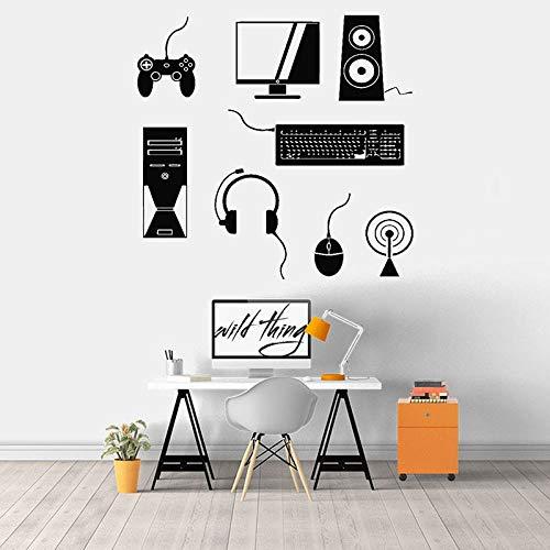 SUPWALS Pegatinas de pared Gamer Wall Decal Computer Player Mouse Auriculares Altavoces Teclado Vinilo Ventana Adhesivo Playroom Study Office Interior Decor 74X77Cm