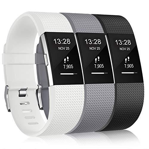Gogoings Correa para Fitbit Charge 2 Pulsera Ajustable Correa de Reemplazo Deportivo Compatible con Fitbit Charge2 para Mujeres Hombres (Sin Reloj) (Pequeño: 5.5' - 6.7', Blanco + Negro + Gris)
