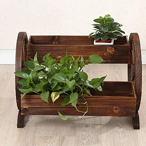 YBB-YB YankimX - Maceta rectangular de madera para jardín, pequeña decoración al aire libre, doble rueda, para jardín