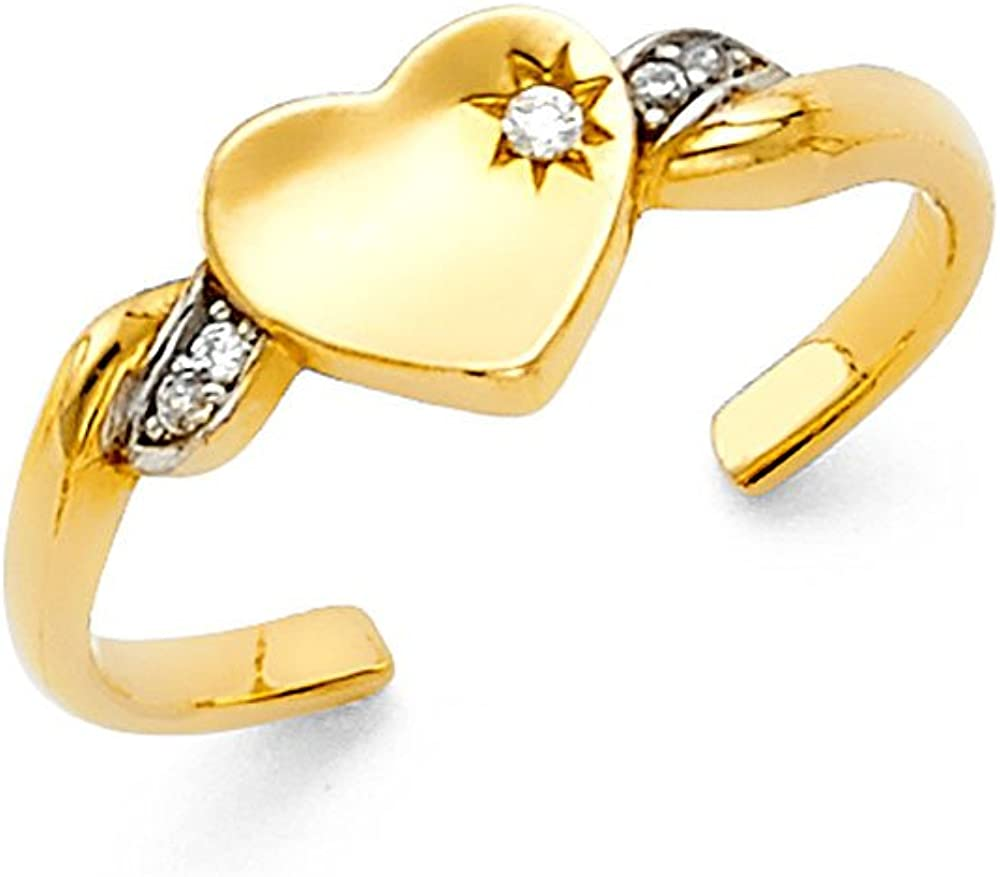 FB Jewels 14K Gold Heart Cubic Zirconia CZ Toe Ring One Size Fits All Adjustable