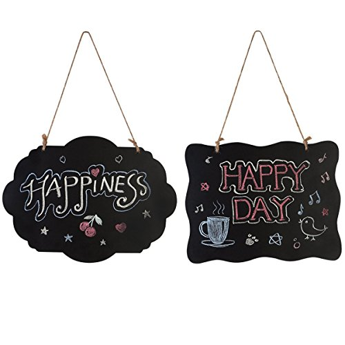 Homemaxs Chalkboard Sign Double-Sided Message Board with Hanging String - 2 Pack