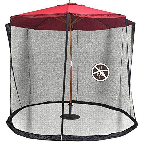 Rain Queen Moskitonetz, zylinderförmig, für Sonnenschirm, 3 m, Durchmesser mit Reißverschluss und Beschwerung, Schwarz, Netz, Sonnenschirm, für Garten, Gazebo Balkon, Insektenschutz, kleine Bälle
