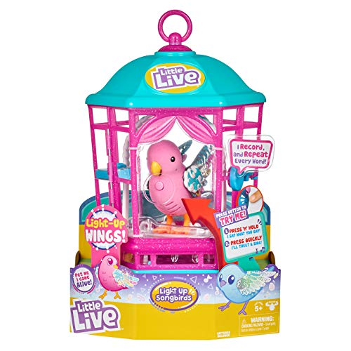 Little Live Pets Bird with Cage - Rainbow Glow - Birds have brilliant light-up wings