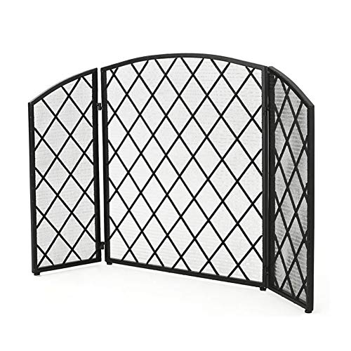 Lowest Prices! Large 3 Panel Fireplace Screen, Wrought Iron Metal Decor Mesh, Baby Safe Fireproof Fe...