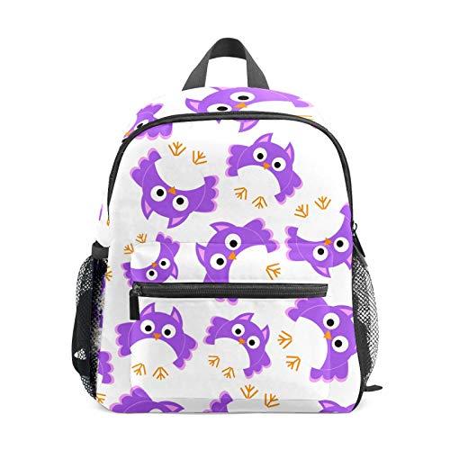 Backpack Student Bookbag for Kids Girls Boys,Purple Owl Casual Daypack School Travel Bag Organizer Gift