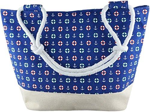mygoodtime Strandtasche Badetasche Einkaufstasche Damen Handtasche Picknicktasche Maritim Anker Rettungsringe Blau Rot Weiß mit Kordel 48x35cm inkl. Einkaufswagen Chip