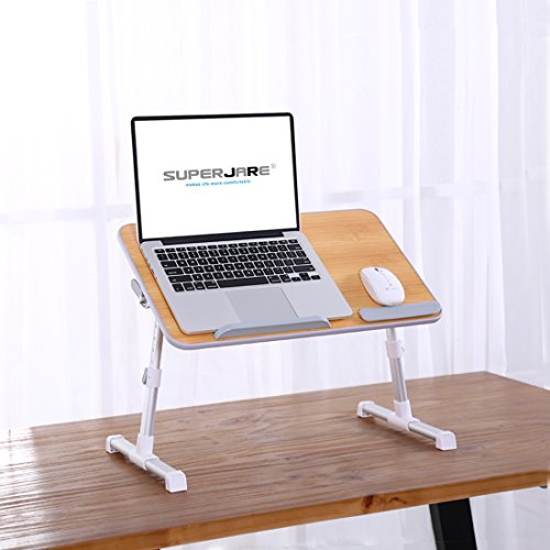 Portable Laptop Table by Superjare, Foldable and Durable Design Stand Desk, Adjustable Angle and Height for Bed Couch Floor Desk, Notebook Holder, Breakfast Tray - Bamboo Wood Grain