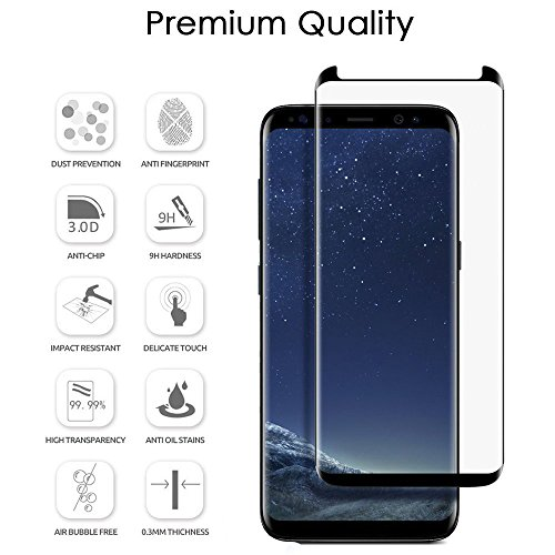 [2 Pack] Galaxy S8 Plus Tempered Glass Screen Protector, Magicmoon Premium Strengthened Clear Anti-Bubble Scratch Proof for Samsung Galaxy S8 Plus [98% Half Cover][Case Friendly]