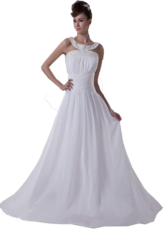 DZdress Women's Halter Pleated Aline Beading Zipper Wedding Dress