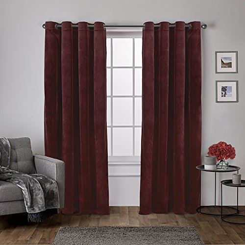 Exclusive Home Curtains Velvet Heavyweight Grommet Top Curtain Panel Pair, 54x84, Burgundy, 2 Count