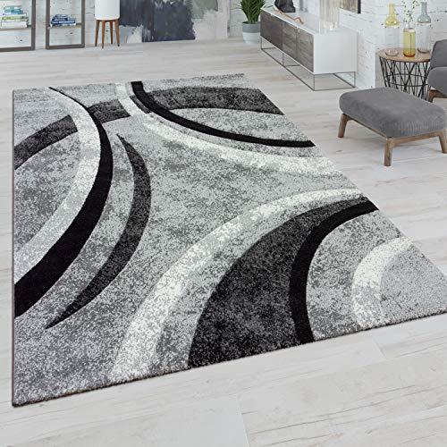 Paco Home Teppich Wohnzimmer Kurzflor Vintage Handgearbeiteter Konturenschnitt 3D Optik, Grösse:160x230 cm, Farbe:Grau
