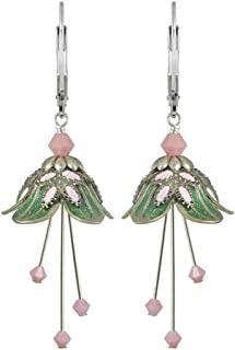 NoMonet Hand Painted Flower Fairy Earrings - Sweet Dreams  in Silver, Green and Pink