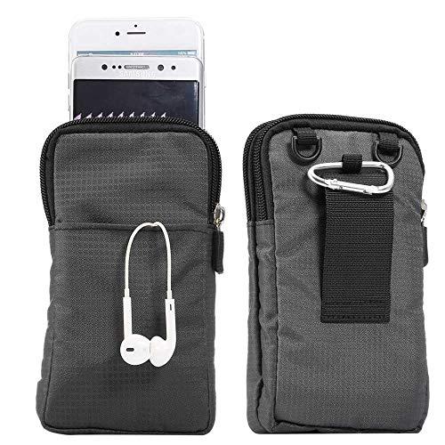 jbTec Handytasche zum Umhängen 165x90x30mm Nylon klein - Gürteltasche Handy Umhängetasche Gürtel Tasche Hüfttasche Case, Farbe:Anthrazit