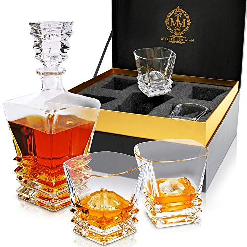 MAKETH THE MAN Genuine Lead-Free Crystal Decanters For Alcohol. 27oz Whiskey Decanter & Glass Set For Men. Perfect for Scotch Whisky, Bourbon, Cognac, Tequila & Other Liquor. Art Deco European Design.