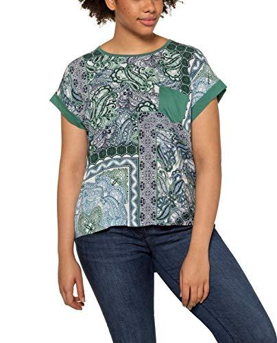 Ulla Popken Damen große Größen Brusttasche und gepatchten Prints, Oversized T-Shirt, Grün (Mineralgrün 72729843), 50-52