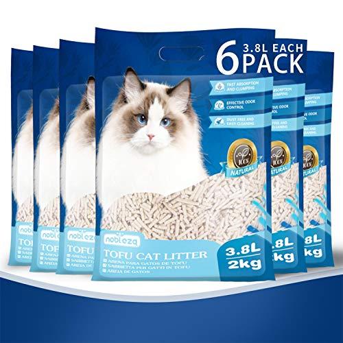 Nobleza Arena para Gatos Vegetal y Aglomerante, 3.8 L, Arena de maíz para Gatos Biodegradable, lecho para Gatos Libre de Polvo Paquete de 6